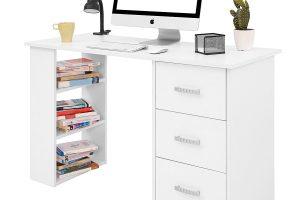 comprar escritorio blanco con cajones y estantes